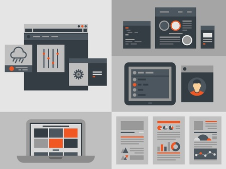 computer screen data: Modern flat design vector illustration icons set of buttons, forms, tabs, sliders and other navigation and infographic elements for website user interface  Isolated on gray background