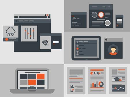 Moderne platte ontwerp vector illustratie iconen set van knoppen, formulieren, tabbladen, sliders en andere navigatie-en infographic elementen voor website gebruikersinterface Geïsoleerd op een grijze achtergrond Stock Illustratie
