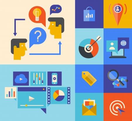 クライアント: ウェブサイトのマーケティングの製品や色付きの背景上のスタイリッシュな色分離プロセスでコンセプトをブレインストーミング アイデアの平らな設計図のアイコンを設定