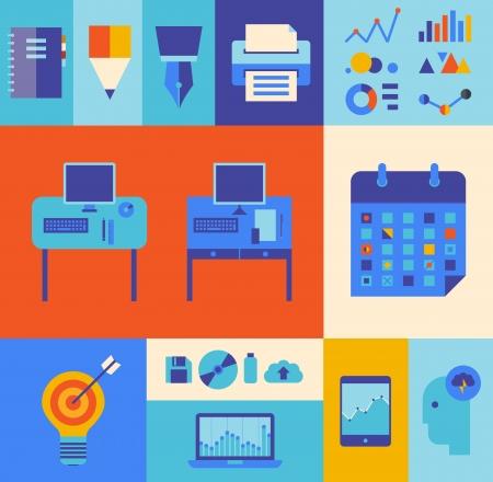 target thinking: Dise�o plano ilustraci�n iconos conjunto del moderno proceso de flujo de trabajo y la oficina de negocios con algunos elementos infogr�ficos y los iconos de la tecnolog�a Aislado sobre fondo de color con estilo
