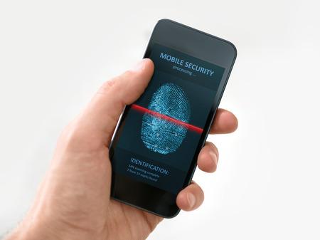Hand houden van moderne mobiele telefoon die een proces van het scannen van vingerafdrukken op het scherm geïsoleerd op witte achtergrond