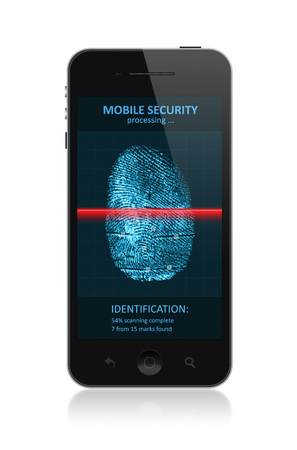 High quality illustration of  modern smartphone with process of scanning fingerprint on a screen  Isolated on white background  illustration