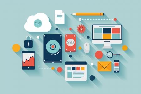 コンピューターとモバイル デバイスの接続の平らな設計図の概念  イラスト・ベクター素材