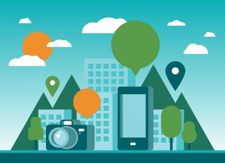 マンガの吹き出し: 携帯電話、デジタル カメラ、空音声バブルとピンのアイコンと未来都市の近代的なフラットなデザインのスタイリッシュなイラスト背景