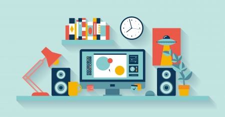 contents: Flat design illustration of modern office interior with designer desktop showing design application with interface icons and elements in minimalistic style and color   Illustration