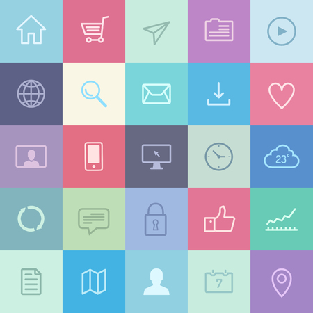 各種のユーザー インターフェイス要素とモダンな metro スタイルの設計のアプリケーション シンボルの平らな設計アイコン
