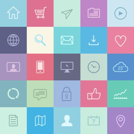 현대 메트로 스타일의 디자인에 다양한 사용자 인터페이스 요소 및 응용 프로그램 기호의 평면 디자인 아이콘