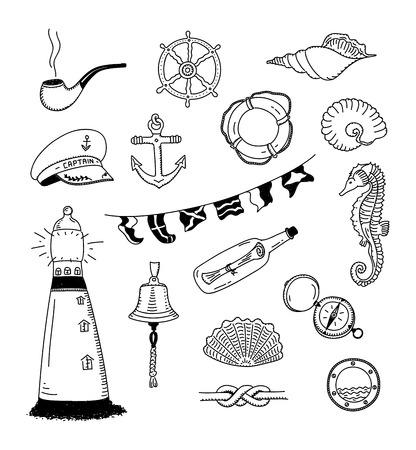 Hand drawn illustration of different sea and sailor doodles objects   Vector
