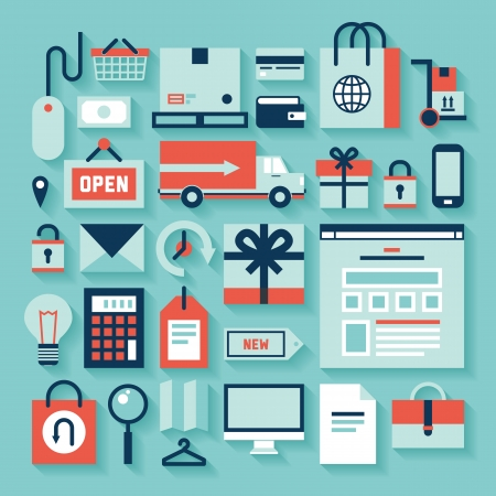 平らな設計図のアイコンを設定すると電子商取引の長い影効果と様々 なショッピング シンボルの要素