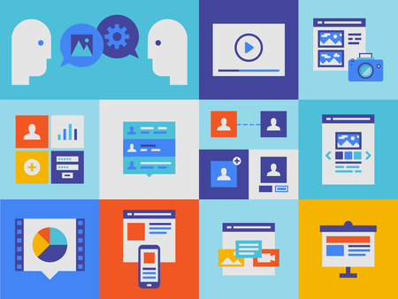 Flat design illustration icons set of web presentation product and user interface elements in stylish colors   Vector