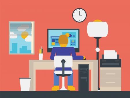 관리자가 현대 사무실 작업 공간에 컴퓨터로 작업 평면 디자인, 세련 된 그림 일러스트