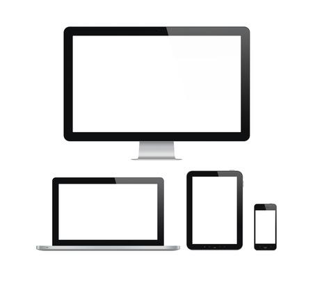 高品質の図は、現代のコンピューター モニター、ノート パソコン、デジタル タブレットと空白の画面を持つ携帯電話のセット。白い背景で隔離さ