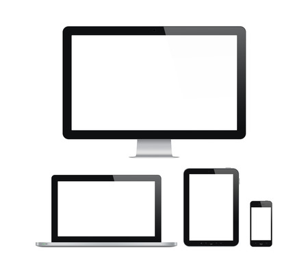High quality illustration set of modern computer monitor, laptop, digital tablet and mobile phone with blank screen. Isolated on white background.  Banco de Imagens