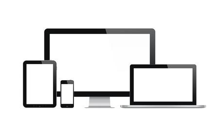 現代の科学技術装置 - コンピューターのモニター、ノート パソコン、デジタル タブレットと画面が空白に分離された白と携帯電話の高品質の図セッ 写真素材