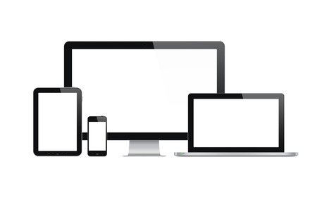 electronic device: High quality illustration set of modern technology devices - computer monitor, laptop, digital tablet and mobile phone with blank screen  Isolated on white