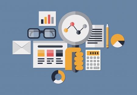 ウェブの分析情報と開発の web サイトの統計から分離されたダークブルーの上の平らな設計ベクトル イラスト アイコンを設定します。