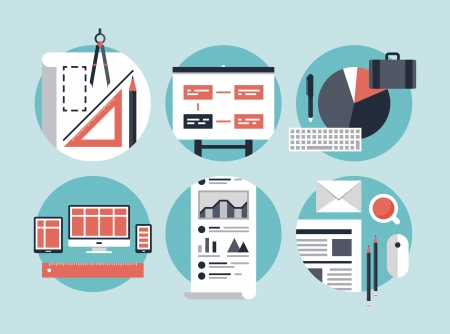 construct: Flat design vector illustration concept icons set of modern business organization management for planning and development innovation of computer technologies  Isolated on stylish color