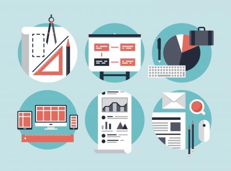 Platte ontwerp vector illustratie begrip iconen set van moderne zakelijke organisatie het beheer van planning en ontwikkeling innovatie van de computertechnologie Geïsoleerd op een stijlvolle kleur