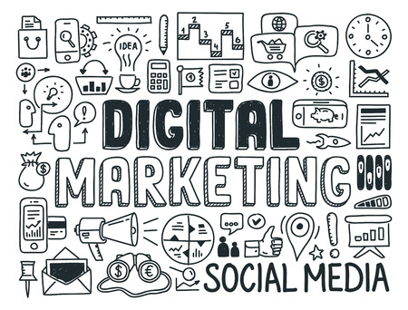 화이트 절연 디지털 마케팅 및 미디어 전략 낙서 요소 집합 손으로 그린 벡터 일러스트 레이 션 아이콘 일러스트