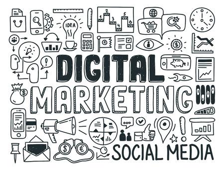 m�dia: Desenho ilustra��o do vetor �cones ajustados de marketing digital e estrat�gia de m�dia elementos rabiscos Isolado no branco Ilustra��o