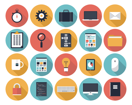 Iconos plana colección de vectores moderno con efecto de sombra larga en colores elegantes de objetos de diseño web y elementos de la interfaz, el negocio y los artículos de oficina aislados en blanco
