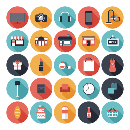 Modern flat icons vector set with long shadow effect in stylish colors of shopping objects and items  Isolated on white
