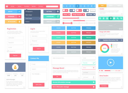 Flat user interface vector set for website development and mobile application design with lots of colorful stylish icons, buttons, control elements and forms in modern fresh design style  Isolated on white  Vector