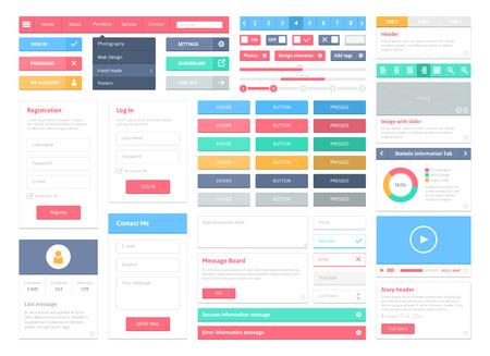 forma: Lapos felhasználói felület vektor készlet honlap fejlesztése és a mobil alkalmazások tervezése sok színes stílusos ikonok, gombok, vezérlőelemek és formák modern, friss design elszigetelt, fehér