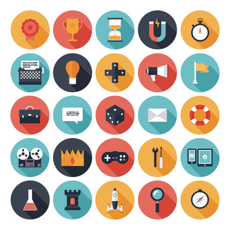 Colección de vectores de iconos planos modernos con efecto de sombra larga en colores elegantes de diferentes elementos en el diseño del juego y el tema de desarrollo aislado en blanco