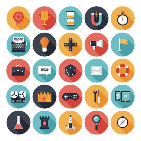 Moderne flat iconen vector collectie met lange schaduw effect in stijlvolle kleuren van de verschillende elementen op game design en ontwikkeling thema Geïsoleerd op wit