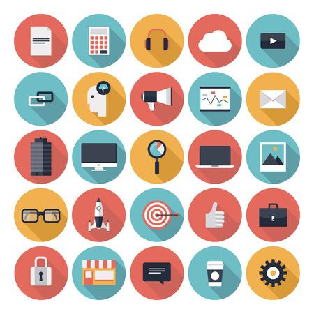 웹 디자인 개체, 비즈니스, 사무실 및 화이트 절연 마케팅 항목의 세련된 색상의 긴 그림자 효과와 현대 평면 아이콘의 벡터 컬렉션
