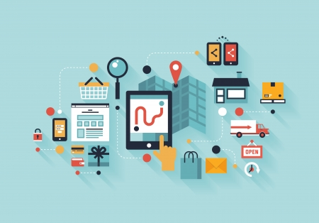 Flache Bauweise modernen Vektor-Illustration Infografik Konzept der Kauf Produkt über das Internet, mobile Kommunikation und Shopping Zustelldienst farbigen stilvolle Isoliert