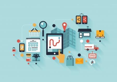 Piso moderno diseño ilustración vectorial concepto de infografía de la compra de productos a través de Internet, la comunicación móvil de compras y prestación de servicios aislados en elegante color