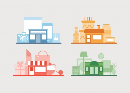 Flat design vector illustration icons set of modern e-store, shop of furniture, shop of gifts and cafe for relaxing after buying  Isolated on white  Illustration
