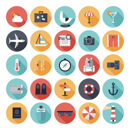 플랫: 여행, 관광 및 화이트 절연 휴가 테마의 세련된 색상의 긴 그림자 효과와 현대 평면 아이콘의 벡터 컬렉션 일러스트