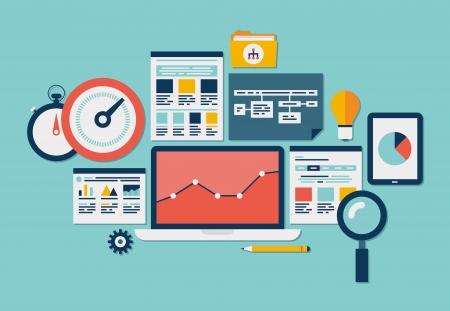 ウェブサイト SEO の最適化、プロセスと web analytics の要素分離された青緑色のプログラミングのフラットなデザイン ベクトル イラスト アイコン セ
