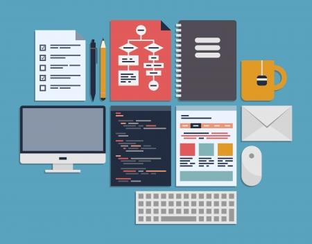 Platte ontwerp vector illustratie iconen set van webpagina programmeren, user interface elementen en workflow objecten geïsoleerd op blauw