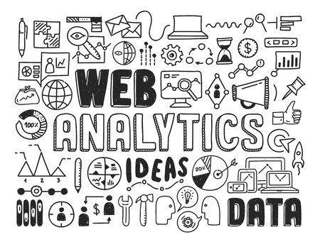 Hand drawn vector illustration icons set of web analytics and ideas in optimization of website search information doodles elements  Isolated on white