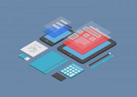 다크 블루에 고립 된 현대 장치에서 모바일 웹 디자인 및 사용자 인터페이스 개발의 평면 설계 아이소 메트릭 벡터 그림 개념