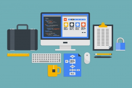 pc: Flat design vector illustration icons set of modern office workflow with various objects and process of web programming development  Isolated on gray background Illustration