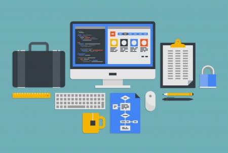 code computer: Piso de dise�o de ilustraci�n vectorial conjunto de iconos de flujo de trabajo moderno de la oficina con varios objetos y al proceso de desarrollo de programaci�n web aislados sobre fondo gris