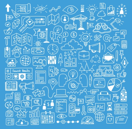 Hand drawn vector illustration icons set of business strategy, brainstorming and website development doodles elements  Isolated on dark blue background  Vector