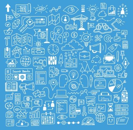 Hand getrokken vector illustratie iconen set van business strategie, brainstormen en website ontwikkeling doodles elementen geïsoleerd op donkerblauwe achtergrond