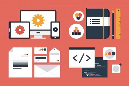 플랫: 비즈니스 브랜딩 및 개발 웹 페이지의 설정 플랫 디자인을 현대적인 벡터 일러스트 레이 션의 아이콘, 응용 프로그램 프로그래밍 코드를 빨간색 배경에 고립 일러스트