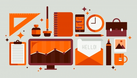 Platte ontwerp moderne vector illustratie iconen set van stijl workflow-apparatuur met verschillende office tools en zakelijke objecten voor het personeel aan het werk Geïsoleerd op stijlvolle olijfachtergrond Vector Illustratie