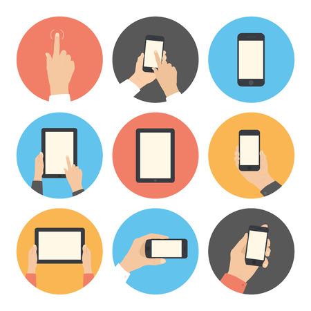 Moderne flat iconen vector collectie in stijlvolle kleuren van mobiele telefoon en digitale tablet met met de hand aanraken van het scherm symbool Geïsoleerd op witte achtergrond