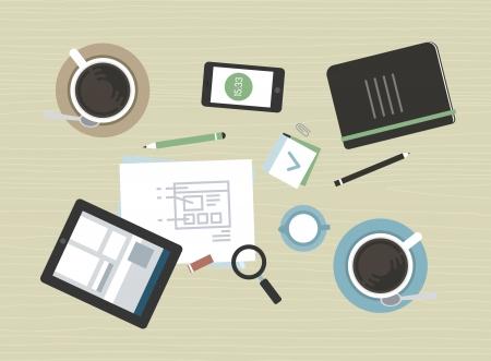 planos: Dise�o plano vector concepto de ilustraci�n de la actual reuni�n de negocios pausa para el caf� con la tableta digital, smartphone, documentos y diversos objetos de la oficina aislada en fondo beige textura escritorio