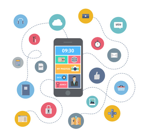 Flat design modern vector illustration infographic concept of variety using of smartphone with lots of multimedia icons and stylish mobile user interface on the phone  Isolated on colored stylish background   Vector