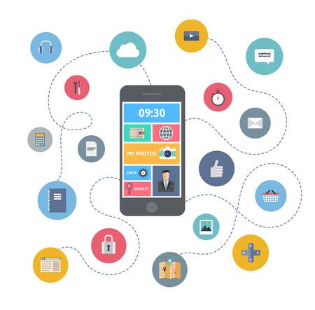 internet movil: Piso moderno dise�o ilustraci�n vectorial concepto de infograf�a de la variedad de uso de tel�fono inteligente con una gran cantidad de iconos de multimedia y elegante interfaz de usuario m�vil en el tel�fono aislados en fondo elegante de color
