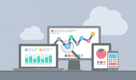 ウェブサイト分析学と計算データを用いて現代電子デバイスやモバイル デバイスから分離された灰色の背景上のフラットなデザイン モダンなベクト